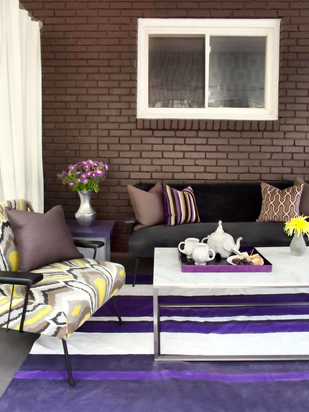 Outdoor Seating Area With Purple Rug