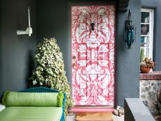 Hand-Painted Front Door with Honeysuckle Design