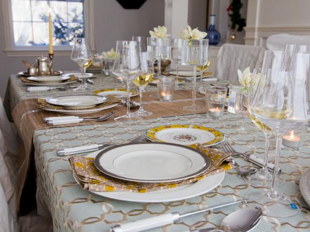 Glass And Metallic Winter Table Setting