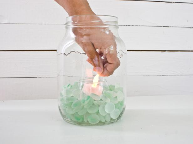 Add a Tea Light to a Mason Jar Lantern