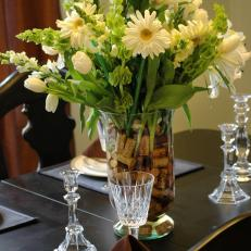 Flower and Wine Cork Centerpiece