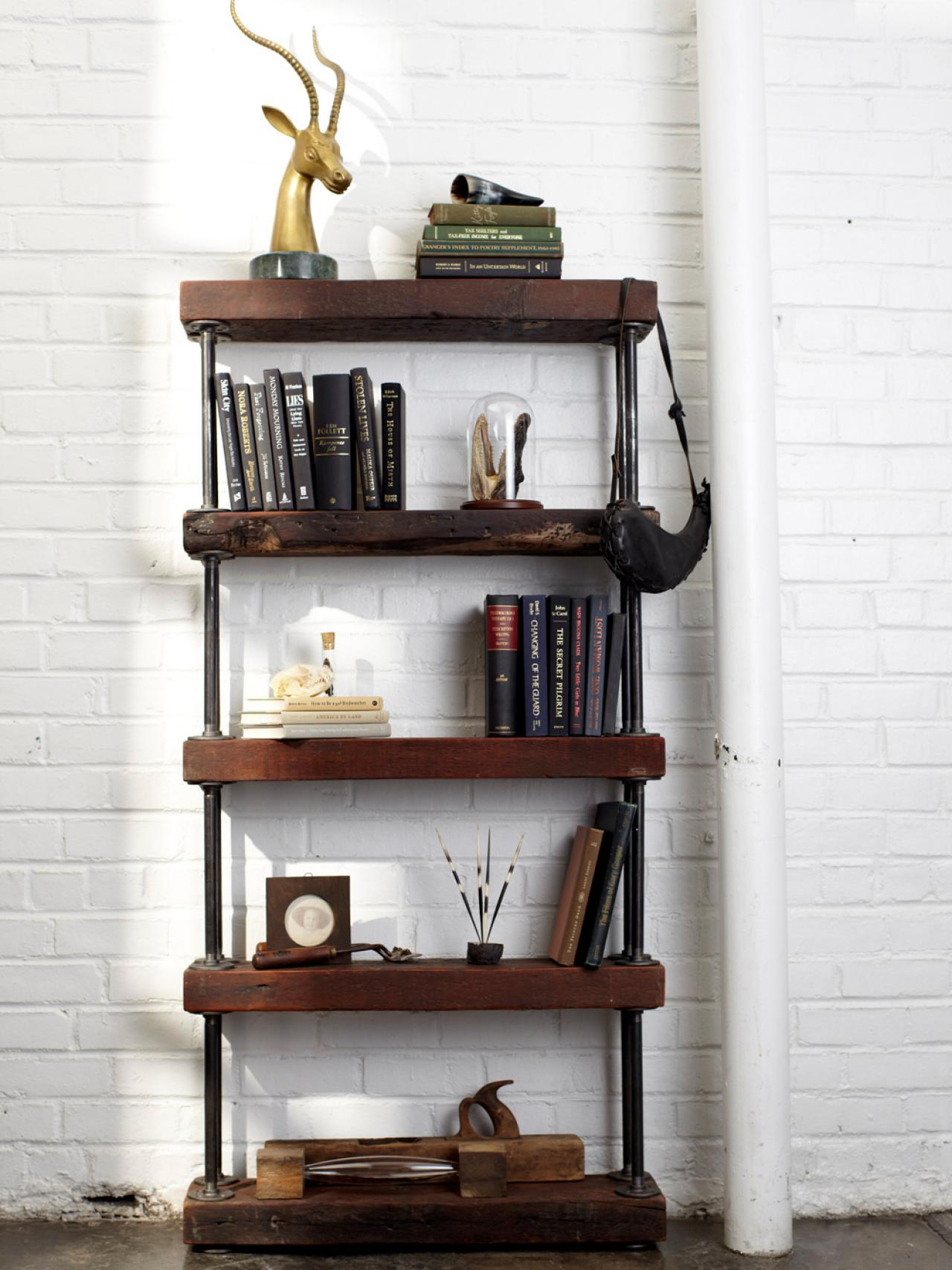 industrial rustic bookshelf hgtv