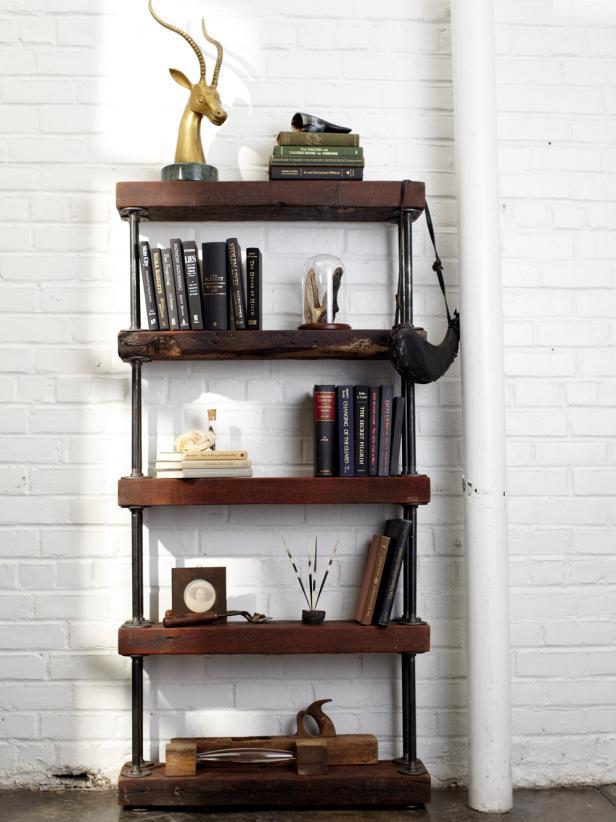 Industrial Rustic Bookshelf | HGTV