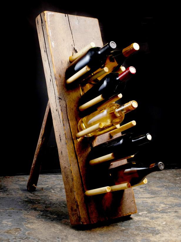 Wine Rack Made from Reclaimed Lumber and Dowels