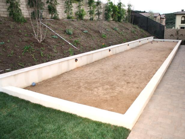 Bocce Court With Seat-Height Retaining Wall
