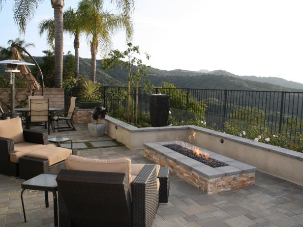 Patio With Rectangular Fire Pit and Mountain View