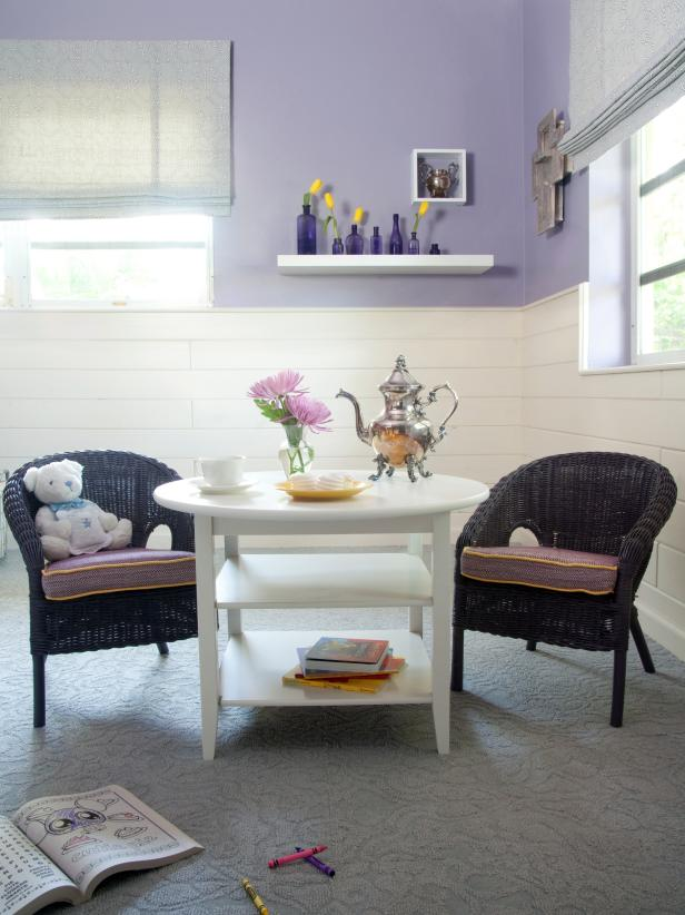 Lavender Kids Playroom With Child-Sized Table and Chairs