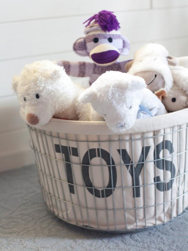 Stuffed Animals in a Storage Basket