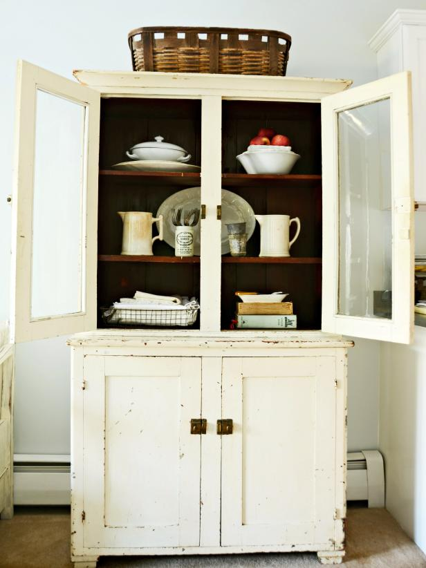 Vintage Kitchen Hutch With Natural Wood Shelves - Antique Kitchen Decorating: Pictures & Ideas From HGTV HGTV