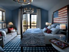 Blue Guest Bedroom With Americana Accents
