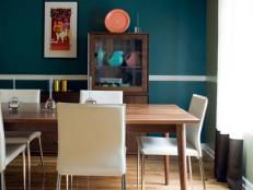 Mid-Century Teal Dining Room with Contemporary Chandelier