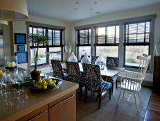 Open Kitchen and Dining Area Near Large Windows