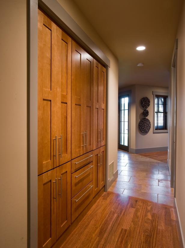 Hallway Pantry With Wooden Doors Hgtv