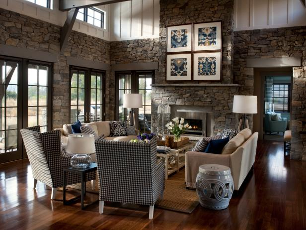 Country Living Space With Stone Walls and Navy Blue Accents