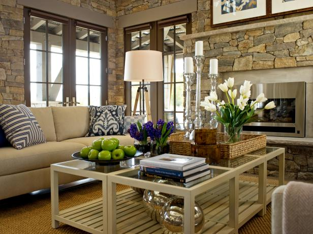 Great Room With French Doors and Stone Walls