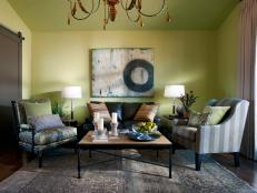 Green Transitional Sitting Room With Eclectic Accents