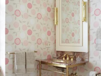 Vintage-Inspired Bathroom With Gold Washstand