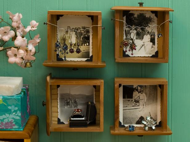 Wall Storage From Mounted Miniature Dresser Drawers