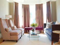 Champagne Pink Striped Drapes in Transitional Formal Living Room