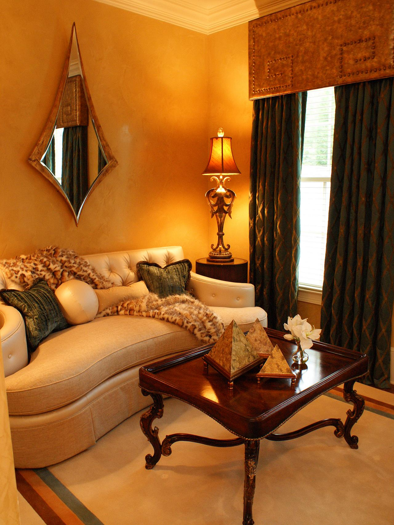 Brown gold and orange living room - Traditional Living Room With Silk Walls