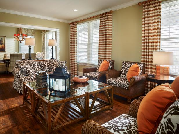 Neutral Living Room Furniture in Damask Fabric With Orange Accents
