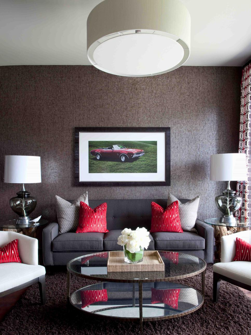 High end bachelor pad decorating on a budget hgtv for Living room ideas on a budget uk