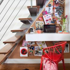Contemporary Workspace Tucked Under the Stairs