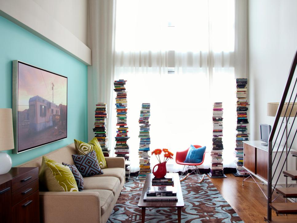 Colorful clever small spaces from hgtv hgtv for Small space living room designs
