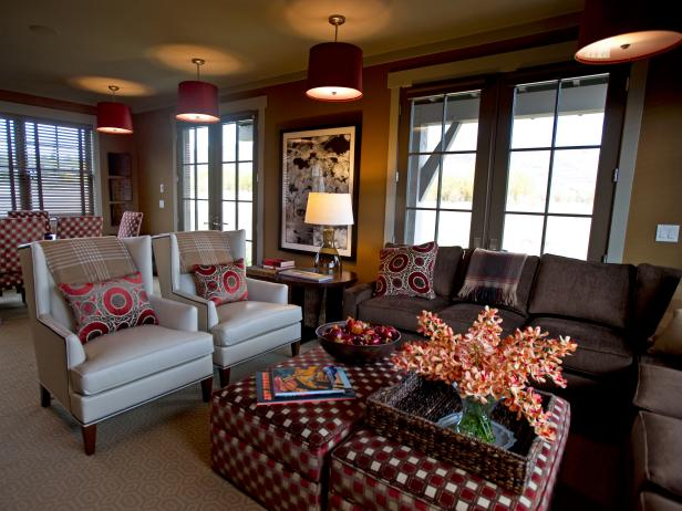 Red and Gray Transitional Entertainment Room
