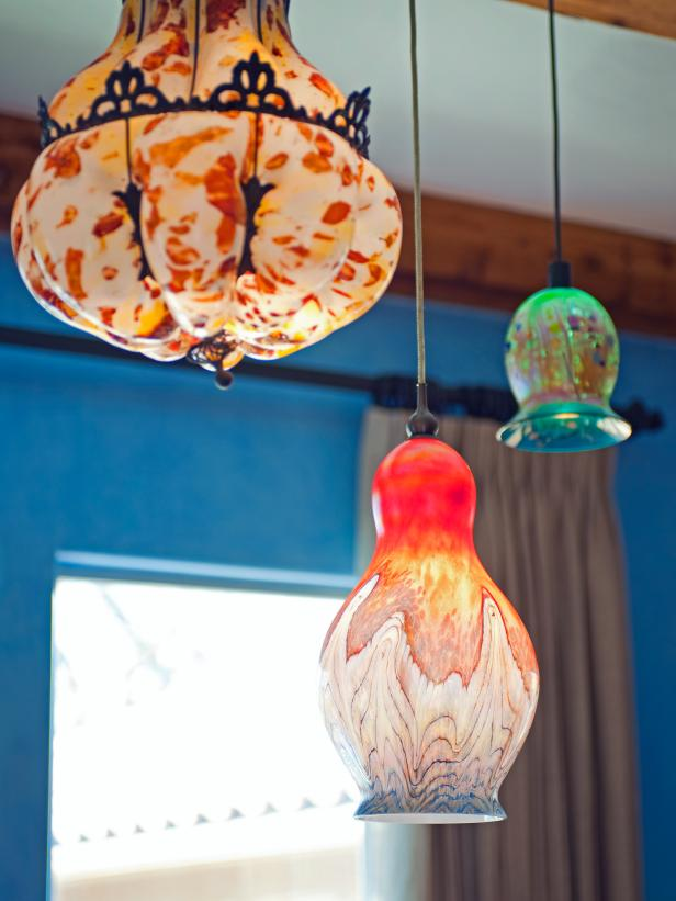 Eclectic Glass Pendant Lights With Multicolor Patterns