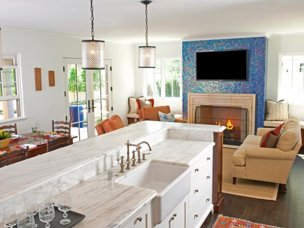 Blue Mosaic Fireplace Surround in White Great Room