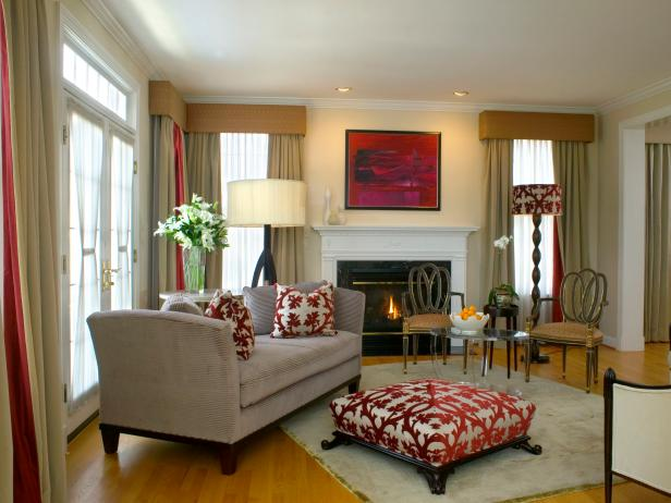 Living Room With Daybed and Multiple Valances and White Fireplace