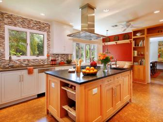Craftsman Kitchen With Large Island and Red Accent Wall