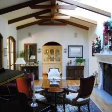 Spanish Style Living Room With Wooden Ceiling Beams