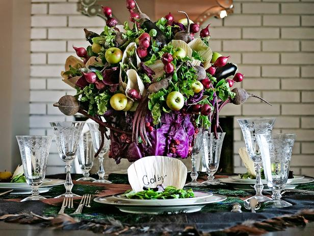 Fruit and Vegetable Thanksgiving Centerpiece
