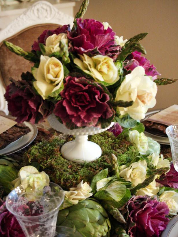 Fall Centerpiece With Ornamental Kale