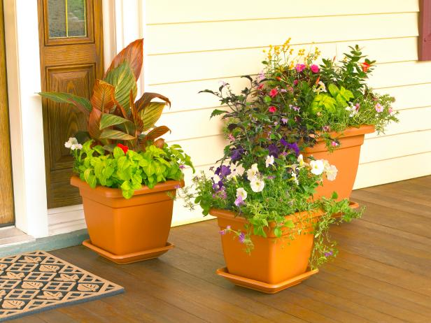 Container Garden Design large container garden Potted Plants On Front Porch