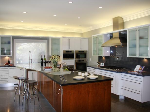 White Kitchen with Soapstone Countertop and Frosted Glass Cabinets