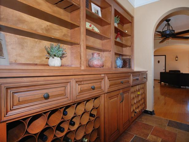 Wine Room With Built-In Bookshelves