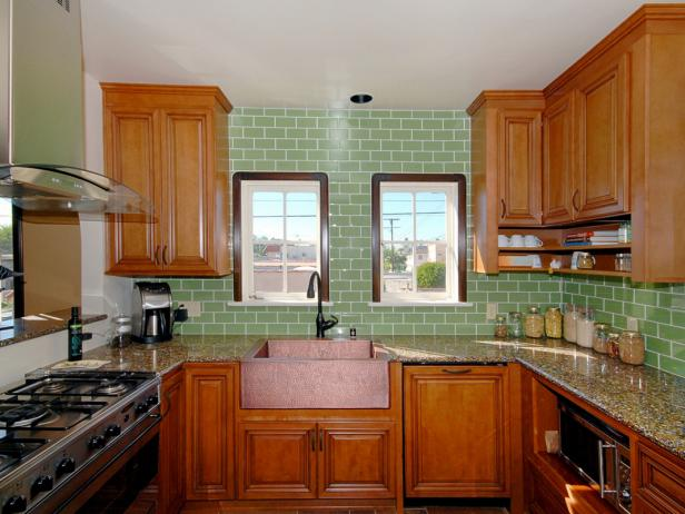 Green Tile Transitional Kitchen
