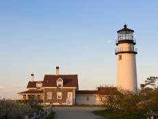 New England Home with Lighthouse