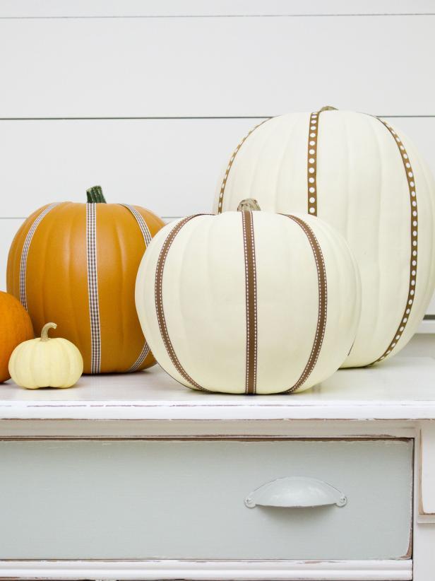 Ribbons Adorn Halloween Pumpkins