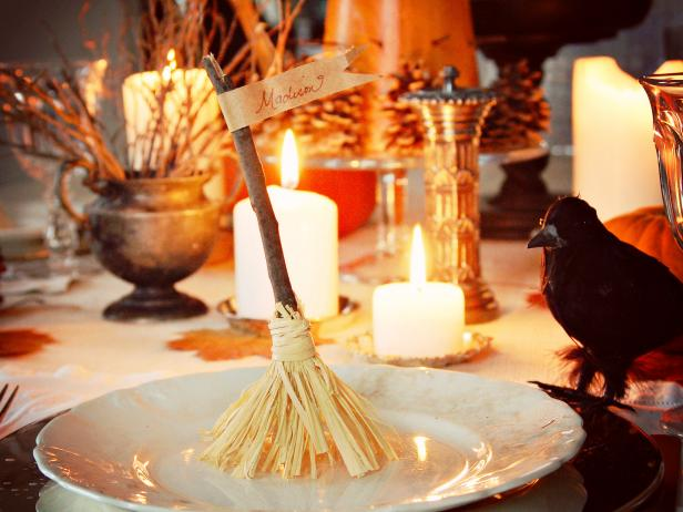 Witch's Broom Place Card Holder