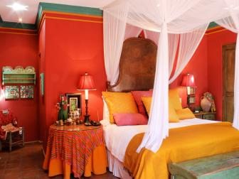 Colorful Mexican-Inspired Bedroom With Sheer Canopy Bed