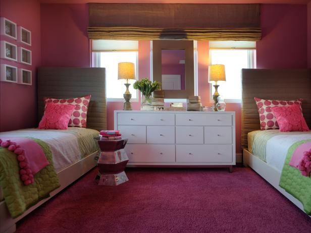 Eclectic Hot Pink Girls' Bedroom