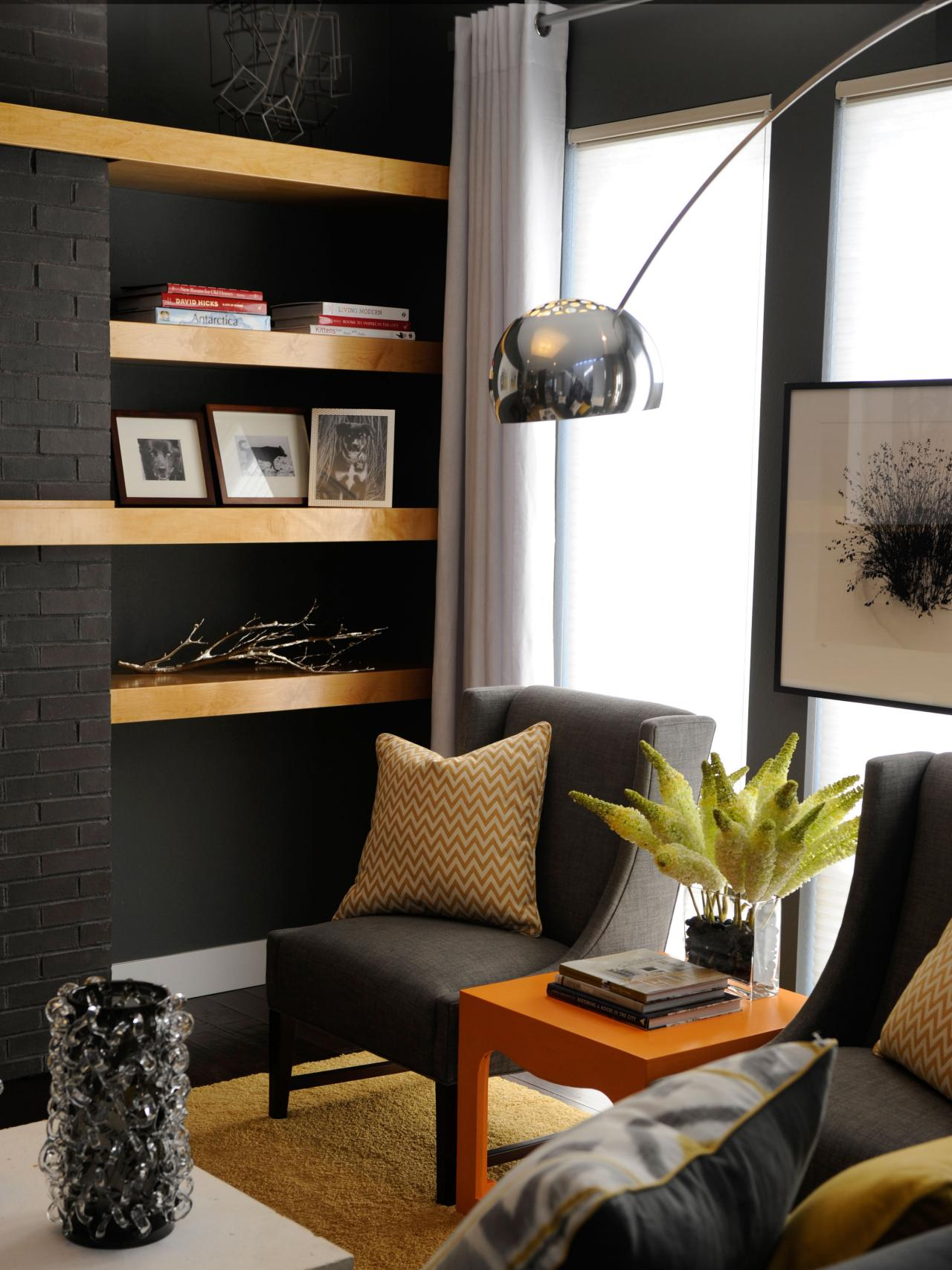 Black and yellow living room decor hgtv - Black accessories for living room ...