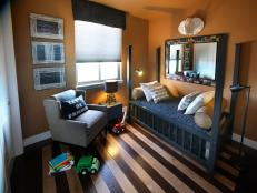 Contemporary Boy's Bedroom in Orange and Navy Blue