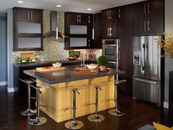 Contemporary Eat In Kitchen With Mosaic Tile Backsplash