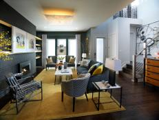 Contemporary Gray Living Room With Yellow Area Rug