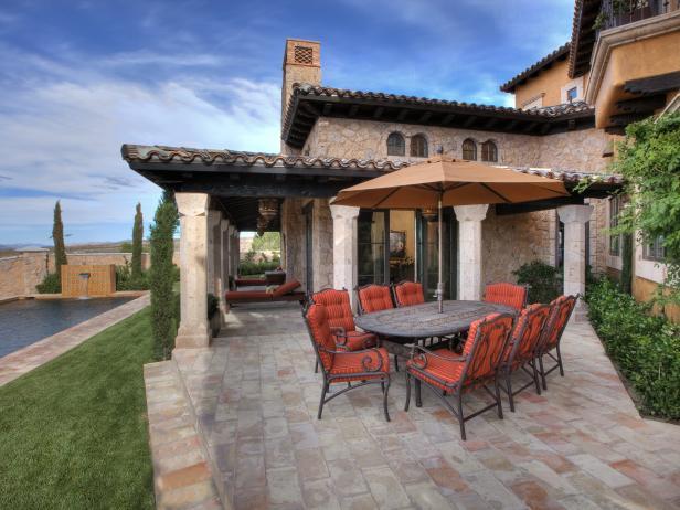 Mediterranean Backyard Dining Terrace
